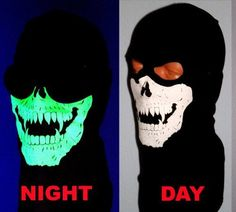 """Glow in the Dark 2 Hole Vampire Skull Ghost Black EXTRA LONG FRONT Balaclava SKI Winter Hood Ninja Swat Modern Warfare Call of Duty Quality Thick-ness 100% Soft USA Made Cotton by My Skull Store. Save 16 Off!. $15.95. 100% American Made premium Quality one size fits most Glow in the dark Vampire Skull face mask Balaclava Hood WITH AN EXTRA LONG FRONT FOR SUPERIOR COVERAGE. Great winter Hood .. Not too thick ... But certainly not thin. Gram Wt 36-42 Grams. 6""""X5"""" Glow in the Dark Vampire…"""