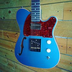 Chris' Pelham blue semi-hollow #Dixie with tortoise pickguard. #customguitars #designedonline #gearnerds #geartalk