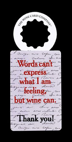 Are you giving somebody a bottle of wine to thank them? Voila! #ThankYouCards #TheWineCardCompany #WineCards #WineTags #Wine