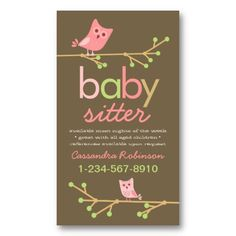 Mod Owls Baby Sitter Business Card Templates