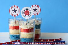 captain america Cupcakes In Mason Jars...