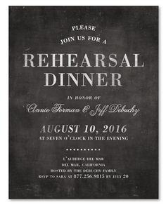 Rustic Chalk Rehearsal Dinner Invitations by ForeverFiances Wedding