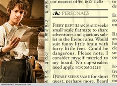 In which Smaug seeks a Hobbit roommate, similar to how Sherlock Holmes went about it.