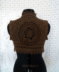 CROCHET LACE VEST gypsy pixie steampunk boho by SINDdesign on Etsy