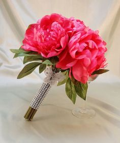 """Round Pink Bouquet 9""""/ Fabric Flowers / Artifical flowers/ Wedding/ Sweet Sixteen/ Quinceanera/ Decorative bouquet holder on Etsy, $25.00"""