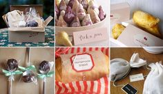 Yummy and easy DIY edible favors. Loving the bread and jam, s'mores boxx and pears in a basket!
