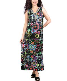 Another great find on #zulily! Black Medallion Maxi Dress - Plus by Shoreline #zulilyfinds