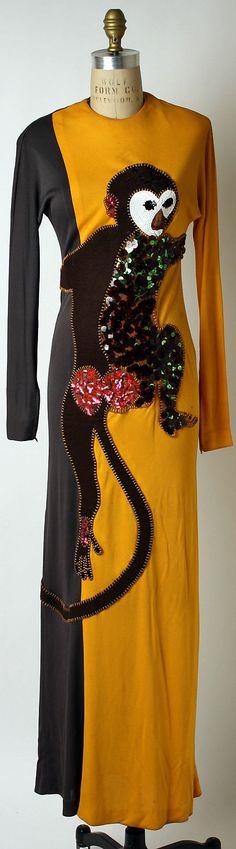 Monkey Dress Donald Brooks (American, 1928–2005) Date: ca. 1972 Culture: American Medium: silk, wool, plastic