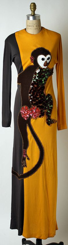 1972 Donald Brooks Monkey Dress Metropolitan Museum of Art, NY See more museum vintage dresses at http://www.vintagefashionandart.com/dresses