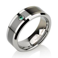 http://rubies.work/0421-sapphire-ring/ Green Emerald Tungsten Wedding Band for Men by BravermanOren on Etsy.