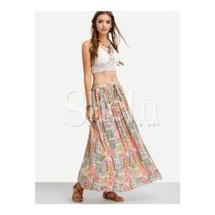 SheIn(sheinside) Multicolor Tribal Print Maxi Skirt (£17) ❤ liked on Polyvore featuring skirts, multi, tribal maxi skirt, colorful maxi skirts, long white maxi skirt, pleated maxi skirt and long pleated skirt