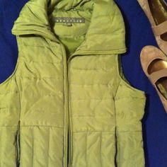 ♻️LIKE NEW MED KENNETH COLE REACTION DOWN VEST. SPLIT PEA SOUP comes to mind briefly when I look at this vest.  I say BRIEFLY only because I LIKE THE VEST(not so much into the soup--BLECK)!!! Like new; no rips, holes, nor stains. Not too heavy on the down fill. Kenneth Cole Jackets & Coats