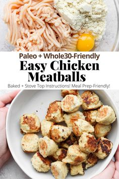 Easy Chicken Meatballs (Baked or Stove Top) - an easy, reliable chicken meatball recipes that is so versatile! Made with simple, real ingredients your family will love! #chickenmeatballs #bakedchickenmeatballs #chickenmeatballrecipe #chickenmeatballrecipeeasy Dairy Free Recipes, Meat Recipes, Paleo Recipes, Healthy Dinner Recipes, Chicken Recipes, Chicken Meatball Recipe Easy, Quick Weeknight Meals, Easy Meals, Baked Chicken Meatballs