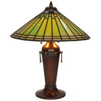 Roycroft lamp, #907, designed by Dard Hunter, leaded glass shade on a hammered copper base