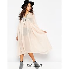 Reclaimed Vintage Angel Maxi Sheer Shirt Dress ($91) ❤ liked on Polyvore featuring dresses, cream, polka dot dress, sheer maxi dress, maxi dresses, pink shirt dress and long sleeve shirt dress