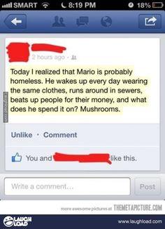 Super Mario is a hobo?!