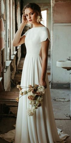 18 Of The Most Graceful Simple Wedding Dresses With Sleeves ★ simple wedding dresses with sleeves a line with cap sleeves modest casual elizabethdye Dream Wedding Dresses, Bridal Dresses, Gown Wedding, Wedding Cakes, Wedding Rings, Wedding Bride, Mormon Wedding Dresses, Modest Dresses, Modest Wedding Gowns
