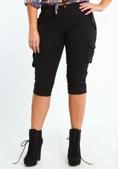 plus size black capri pants - Pi Pants