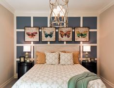 Two tone board and batten bedroom blue white