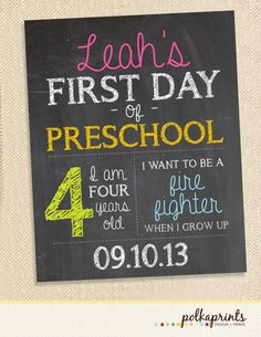 first day of school chalkboard print