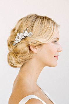 LILLIAN Rhinestone Floral Comb bridal comb veil by UntamedPetals, $198.00 How do you like hair?