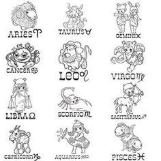 zodiac so cute! Zodiac Art, Scorpio Zodiac, Astrology Zodiac, Astrology Signs, Taurus, Aquarius, Horoscope, Doodle Baby, Cartoon Tattoos