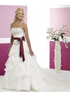 Strapless Beaded Neckline with A line Asymmetrical Pick up Skirt in Elegant Bow Decoration Bridal Dress WD-0163