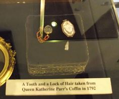 A tooth and lock of hair taken from Queen Katherine Parr's coffin in 1792.