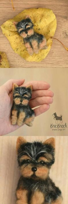 Needle felted Wool brooch Yorkshire Terrier Dog MADE TO ORDER ***** This brooch SOLD ! I can make miniature of your pets or animals any size according to your description or photos. Each new toy|brooch will be different, not like the previous one, with its own unique character.