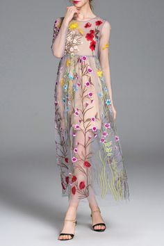 Floral Embroidered See-Through Long Sleeve Dress - could buy a white or nude slip to wear underneath this, or otherwise get a white minimal dress made to wear underneath it so it is more bridal. Could wear the white dress for ceremony and then overlay this for the reception? I like the pink version better than the blue one.