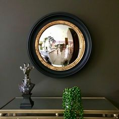 Black Gold Jewelry For Beautiful Pieces - Jewelry Daze Convex Mirror, Mirror Mirror, Industrial Style Lighting, How To Hang Wallpaper, Sr1, Hallway Designs, Black Gold Jewelry, Gold Vases, Wall Accessories