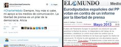Qué cínica, @AliciaSCamacho. Que tu partido,@PPopular,y tú habléis de libertad de prensa me produce arcadas.¡FALSOS!