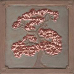 "Handmade 6""  Oak Tree deco Tile with green and copper glaze"