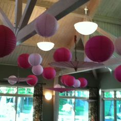 Cute, easy, and cost friendly wedding decoration, Chinese lanterns and umbrellas hanging from the ceiling.