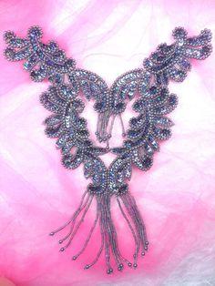 2x brodé Venise Dentelle Paillettes /& Perles Applique Bordure motif violet # 1