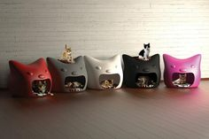 Modern cat house design Kitty Meow from Studio Mango look cute and charming, provide soft and warm beds for cats and add attractive room decor accessories in white, gray, black, red and pink colors to home interiors Crazy Cat Lady, Crazy Cats, I Love Cats, Cool Cats, Hate Cats, Pet Furniture, Furniture Design, Modern Furniture, Here Kitty Kitty