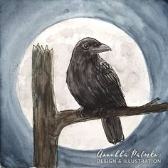 Your place to buy and sell all things handmade Postcard Paper, Moonlight, Raven, Watercolor Paintings, Art Pieces, How To Draw Hands, My Arts, Ink, Prints