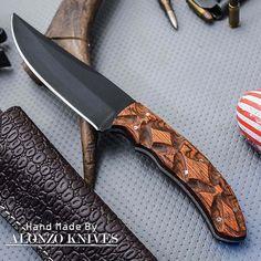 ALONZO KNIVES USA CUSTOM HANDMADE TACTICAL BUSHCRAFT 1095 KNIFE PAKKA WOOD 1355 #AlonzoKnives #tacticalknife