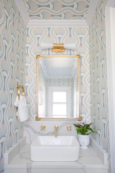 Powder room makeover Small spaces are the perfect place to make a splash! Charleston Shop Curator chose the Utopia Small Double Bath Sconce by Kelly Wearstler to brighten her patterned powder room. Steam Showers Bathroom, Small Bathroom, Bathroom Ideas, Minimal Bathroom, Bathroom Mirrors, Bathroom Layout, Bathroom Cabinets, Master Bathroom Wallpaper Ideas, Bathroom Faucets
