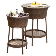 Ideal for serving chilled wine and beer at your next outdoor soiree, these wicker coolers showcase removable tops to double as stylish tables.