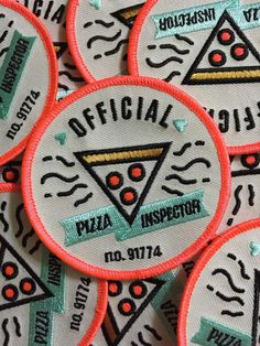 Become the official Pizza Inspector in your group of friends. Embroidered patch with iron on back. Featured totally awesome neon pink thread as an