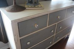 Shabby Chic Chalk Painted Dresser in Ivory and Gray.. Did I mention crystal knobs :)