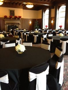 black wedding table cloth and chair covers | Black chair covers black table linens. 317 on Rice in St.Paul, MN.
