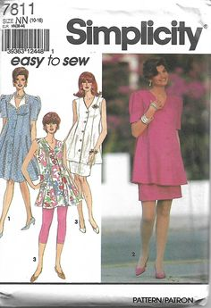 1990's Simplicity 7811 Size 10-12-14-16 Maternity Leggings, Skirt and Dress or Tunic in Misses' Sizes Sewing Pattern 1992 Uncut by LadybugsandScorpions on Etsy