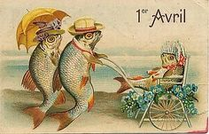 April Fool's Day vintage postcard - Fish Umbrella baby carriage