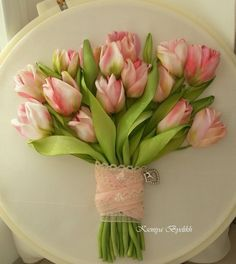 ribbon embroidery tulip bouquet