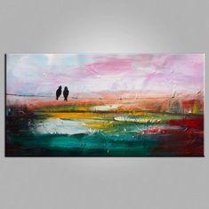 Contemporary Wall Art, Modern Art, Abstract Art, Love Birds Painting, – Silvia Home Craft Love Birds Painting, Large Painting, Painting Art, Knife Painting, Acrylic Paintings, Painting Tips, Modern Art Movements, Wall Art For Sale, Contemporary Wall Art