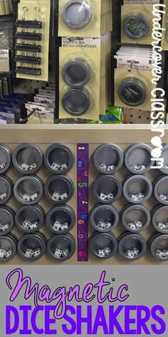 Make these magnetic dice shakers with paper clip holders from the dollar store… (Diy School Classroom) Classroom Hacks, School Classroom, Future Classroom, Classroom Libraries, Classroom Setup, Math Classroom Decorations, Spanish Classroom, Teacher Organization, Teacher Hacks