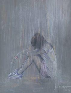 Sad art - art no longer available Sad Anime Girl, Anime Art Girl, Anime Girl Crying, Art Triste, Depression Art, Drawings Of Depression, Sad Drawings, Arte Obscura, Sad Art
