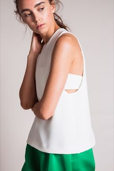 EDIT The Brand SS16 Collection - White Strapless Drop Sleeve Full Top with Bandeau. Look Book.